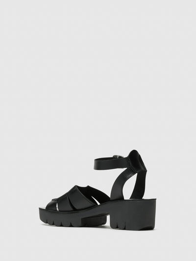 Fly London Coal Black Buckle Sandals
