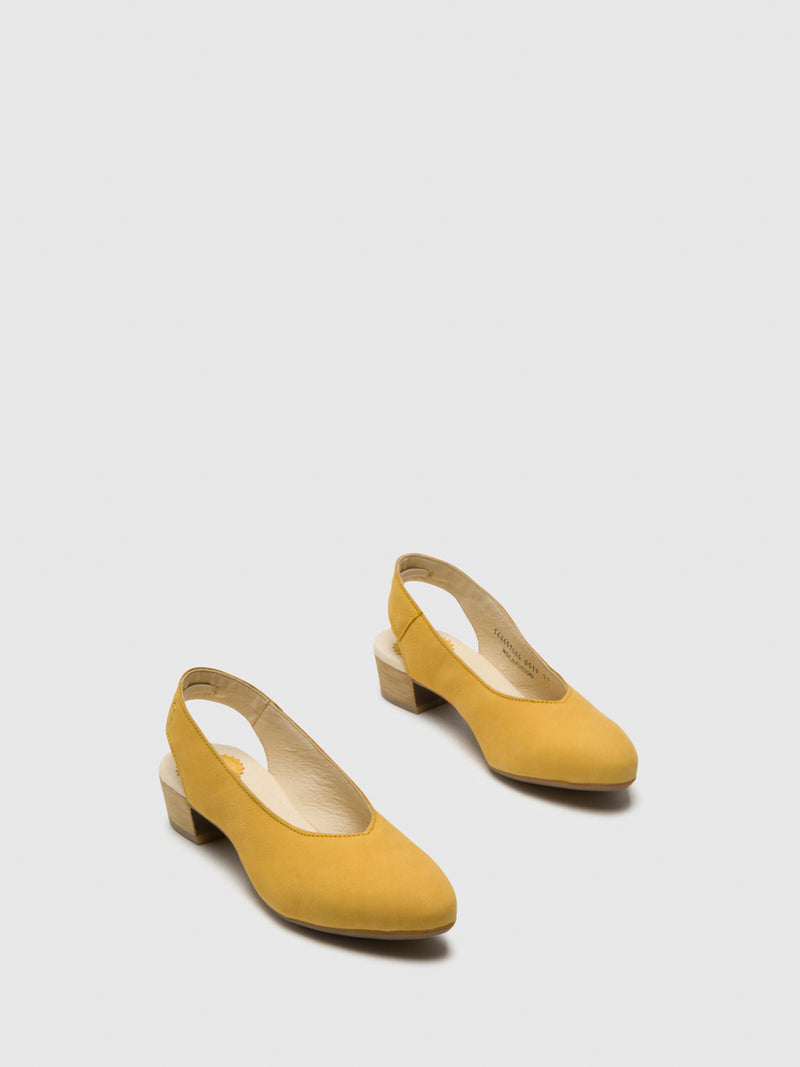 Yellow Sling-Back Pumps Shoes