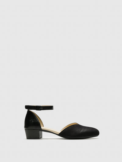 Fly London Black Ankle Strap Sandals
