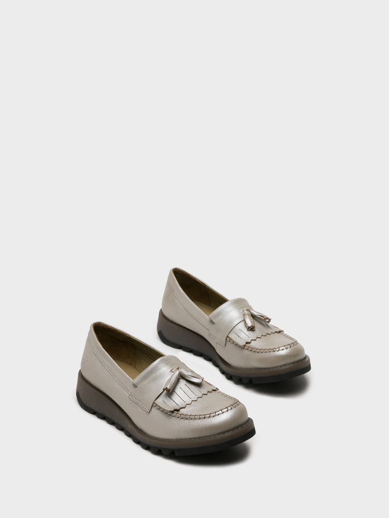 Fly London Silver Loafers Shoes