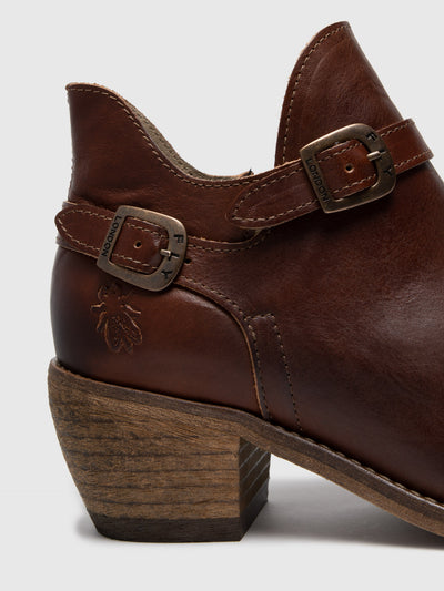 Fly London Chocolate Buckle Ankle Boots