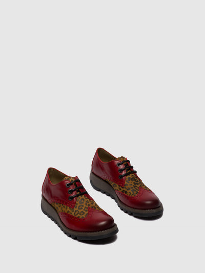 Fly London Oxford Shoes SUME524FLY RUG/CHEETAH RED/TAN
