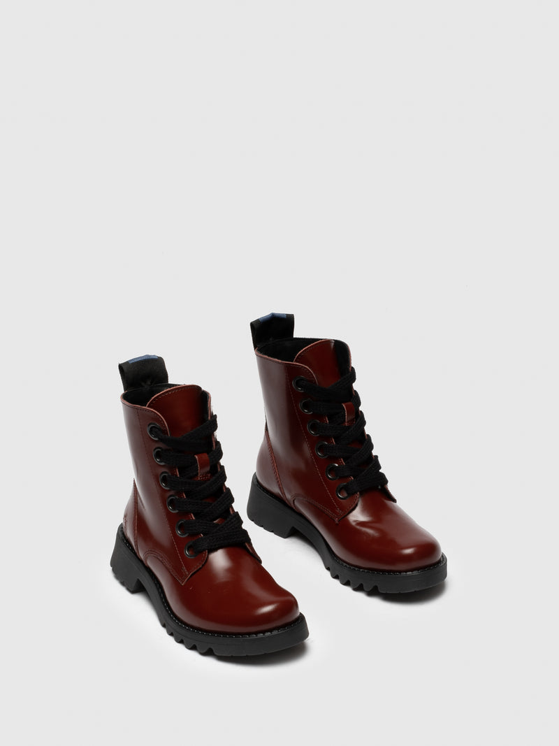 Red Leather Lace-up Ankle Boots