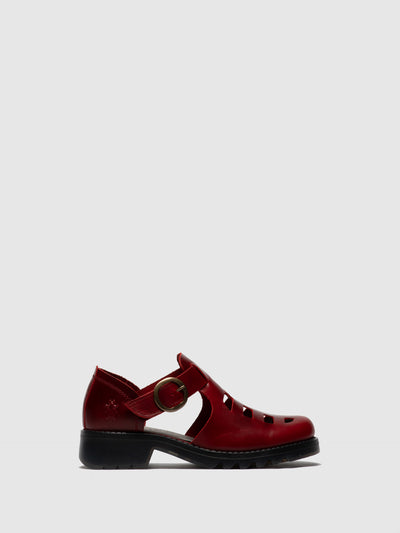 Fly London Red Buckle Shoes