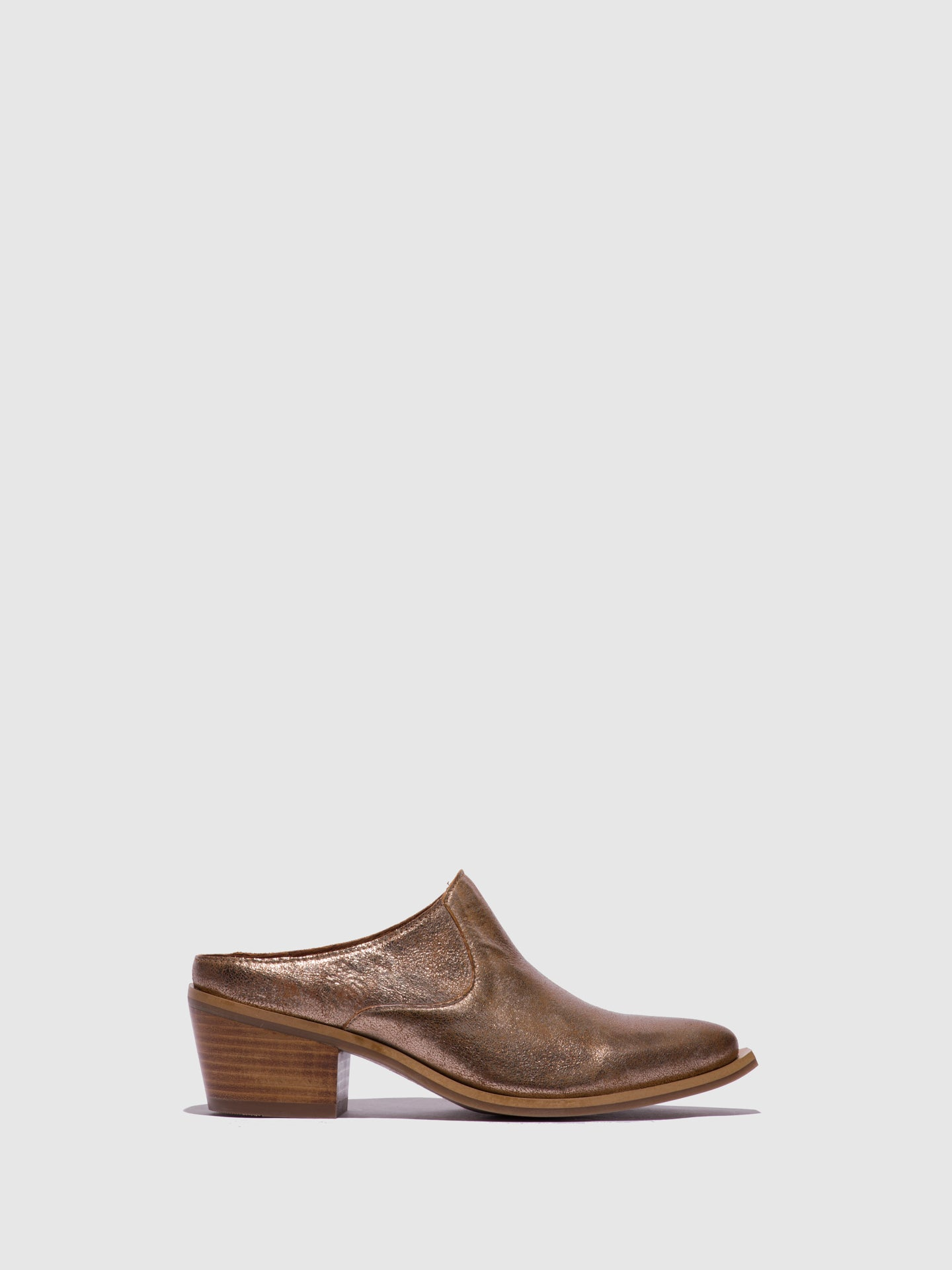 Fly London Gold Closed Mules