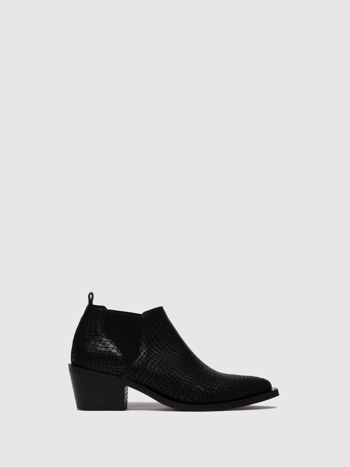Fly London Chelsea Ankle Boots IGAN574FLY CROCO BLACK