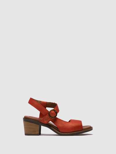 Fly London Orange Buckle Sandals