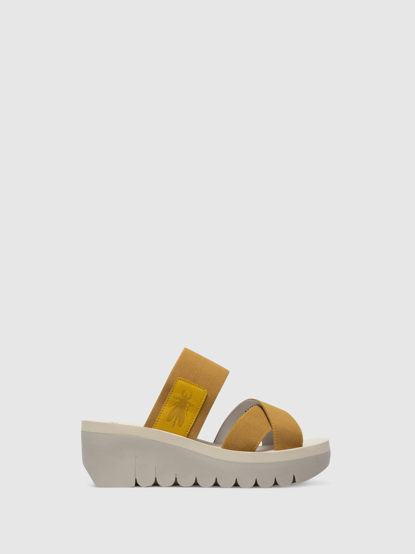 Fly London Yellow Strappy Mules