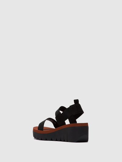 Fly London Orange Black Sling-Back Sandals