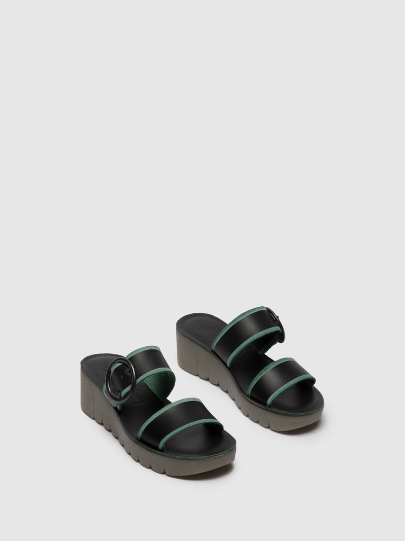 Fly London Black Strappy Mules