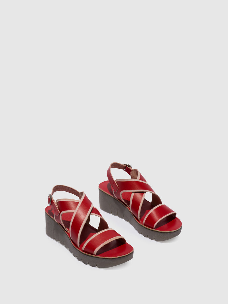 Red Crossover Sandals