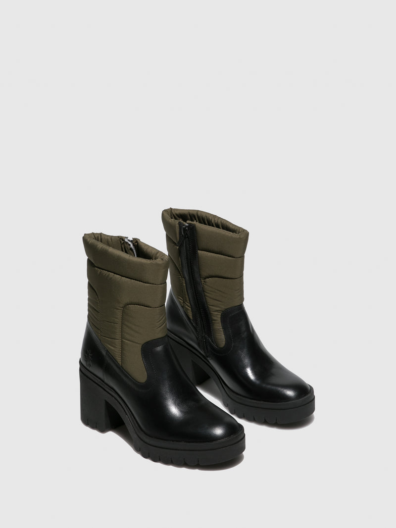 Fly London Zip Up Ankle Boots TYKE661FLY RUG/NYLON BLACK/KHAKI