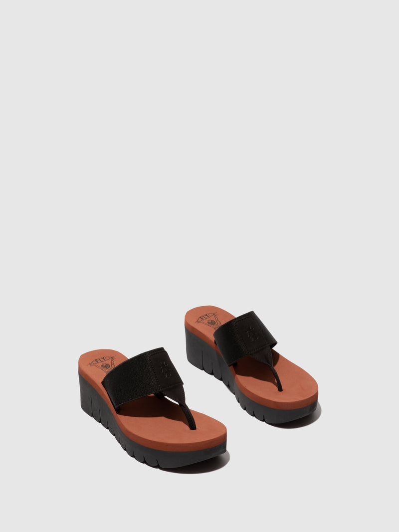 Fly London Thong Sandals YOMU725FLY CUPIDO BLACK (BRICK)