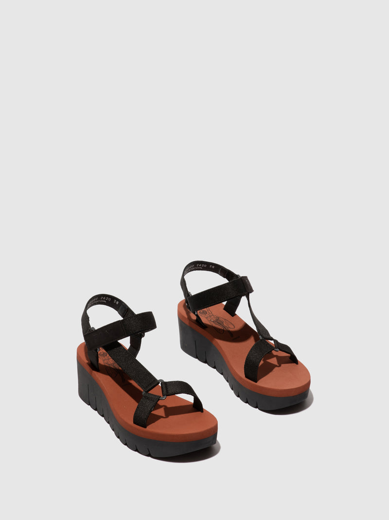 Fly London Velcro Sandals YEFA726FLY CUPIDO BLACK (BRICK)