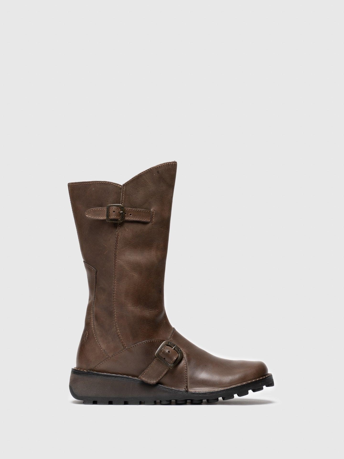 Fly London Brown Leather Buckle Boots