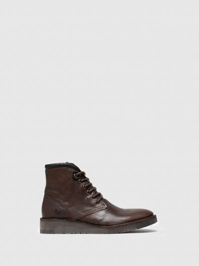 Fly London Brown Leather Lace-up Ankle Boots