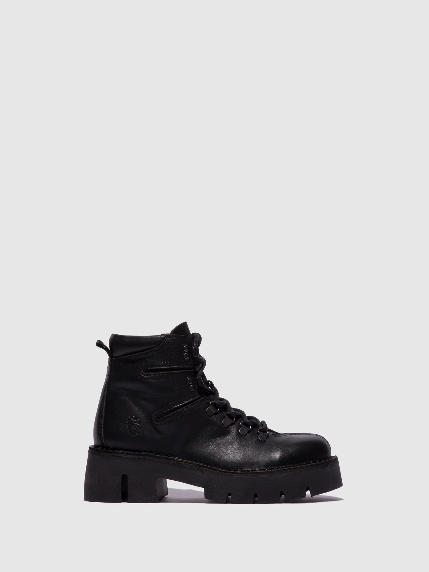 Fly London Lace-up Ankle Boots BERI000FLY BLACK LEATHER