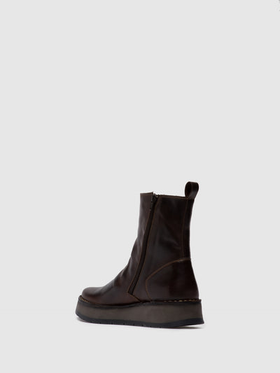 Fly London Zip Up Ankle Boots RENO053FLY RUG DK. BROWN