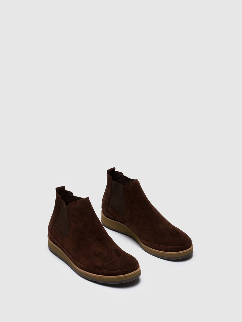 Brown Suede Chelsea Ankle Boots