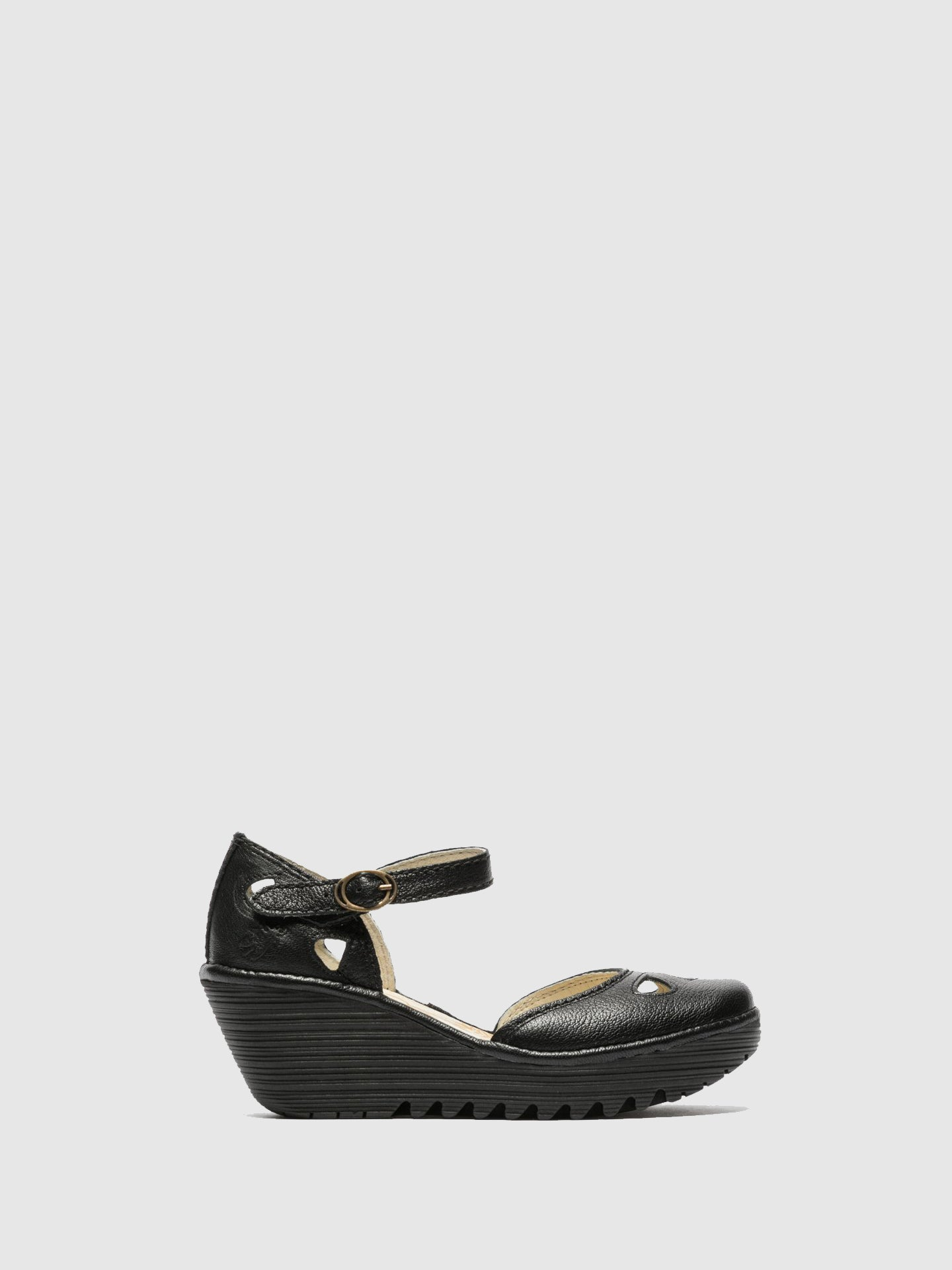 Fly London Carbon Black Wedge Sandals