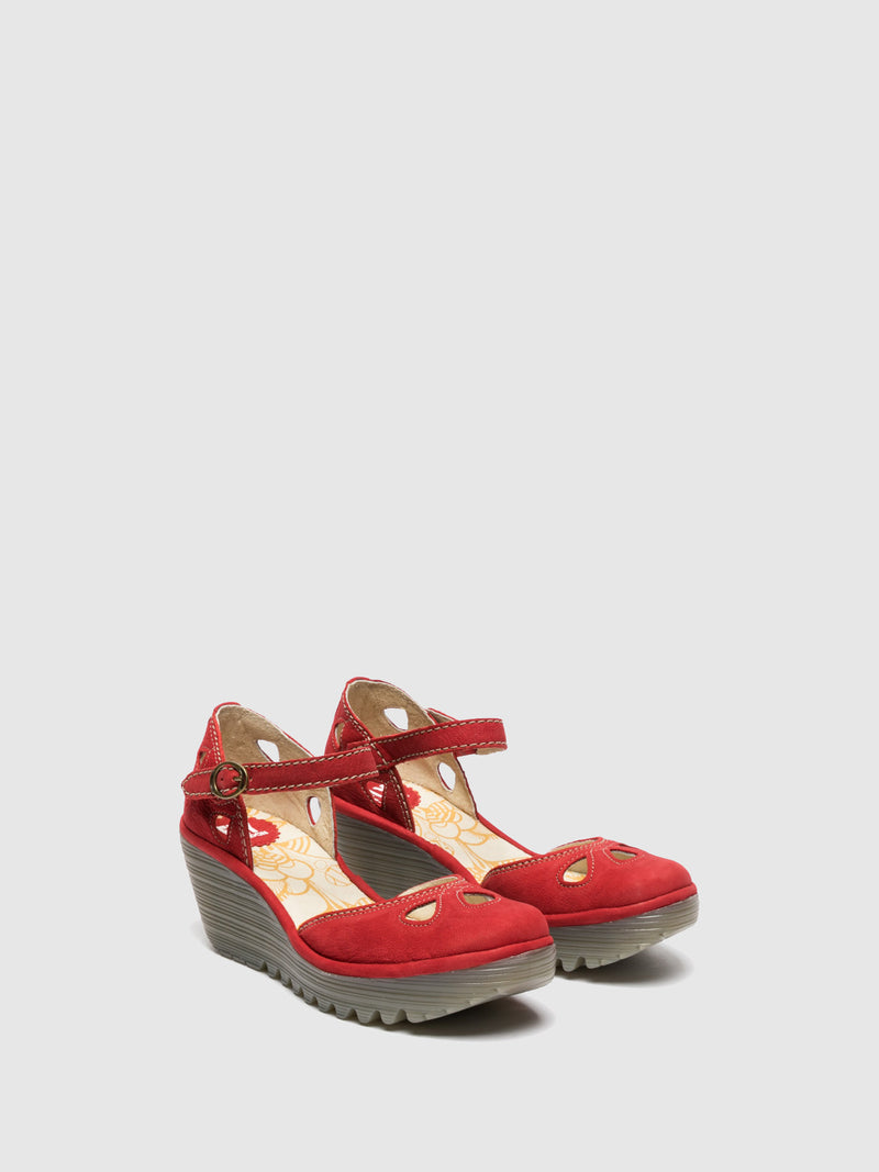 Crimson Wedge Sandals