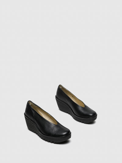 Fly London Gloss Black Wedge Shoes