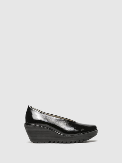 Fly London Coal Black Wedge Shoes