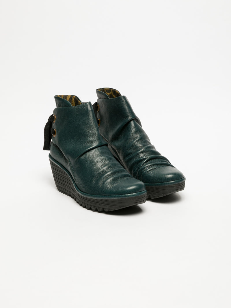 DarkGreen Wedge Ankle Boots