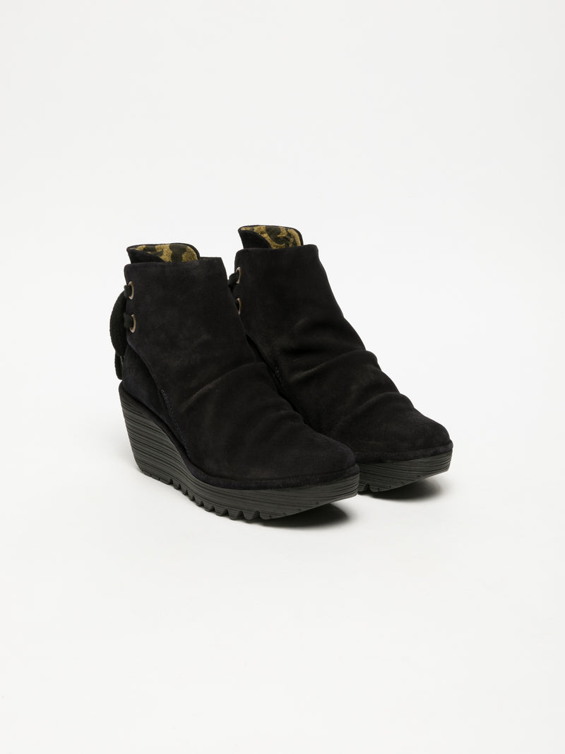 Fly London Carbon Black Wedge Ankle Boots