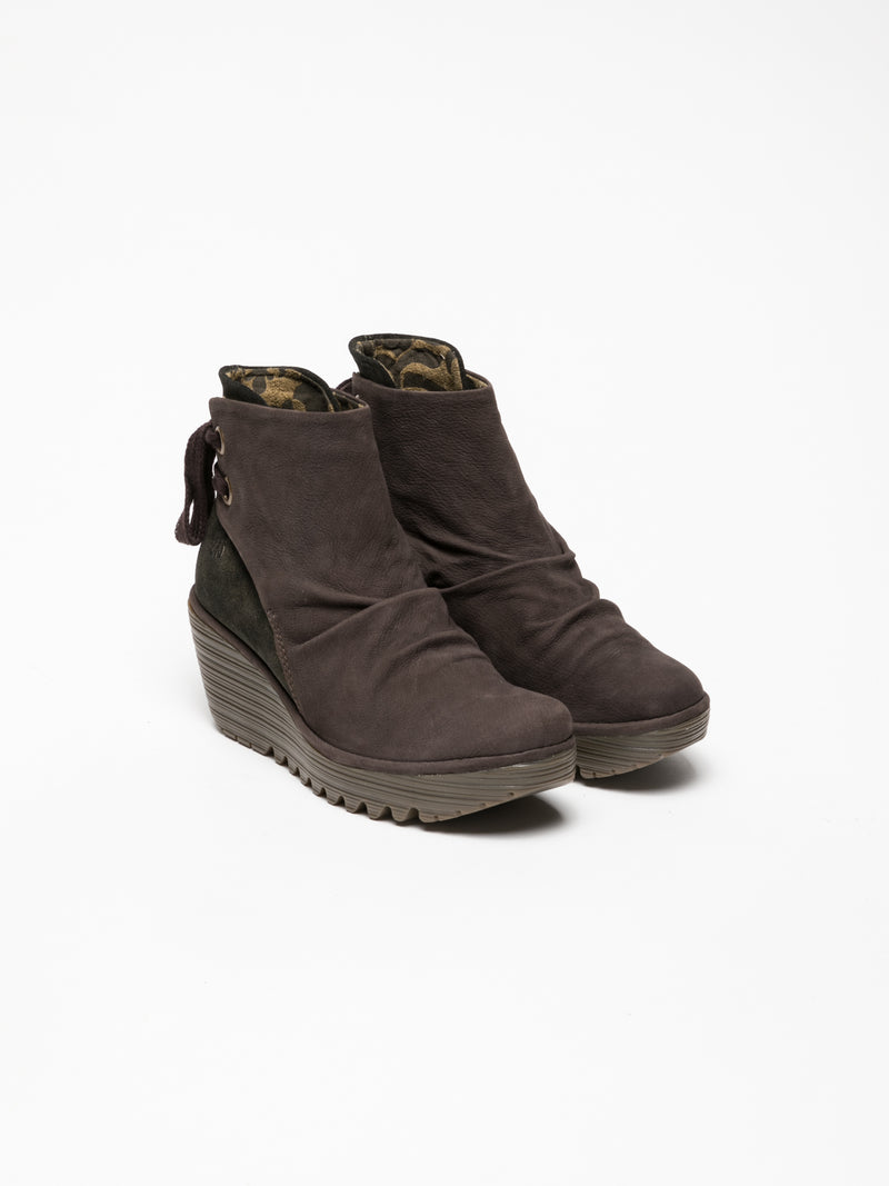 Brown Wedge Ankle Boots