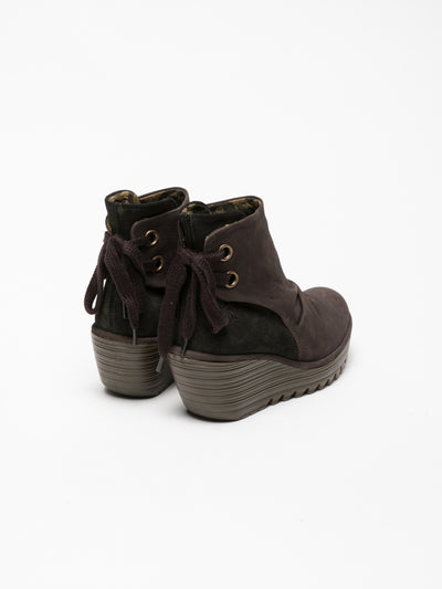 Fly London Brown Wedge Ankle Boots