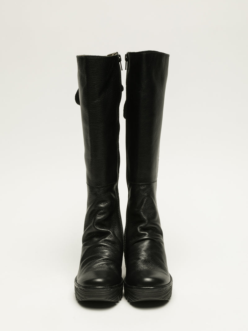 Fly London Coal Black Knee-High Boots