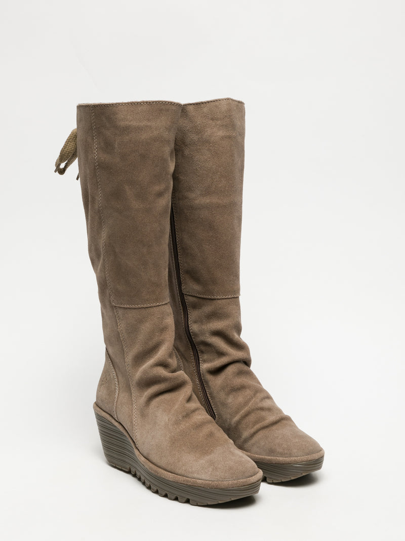 Fly London Taupe Knee-High Boots