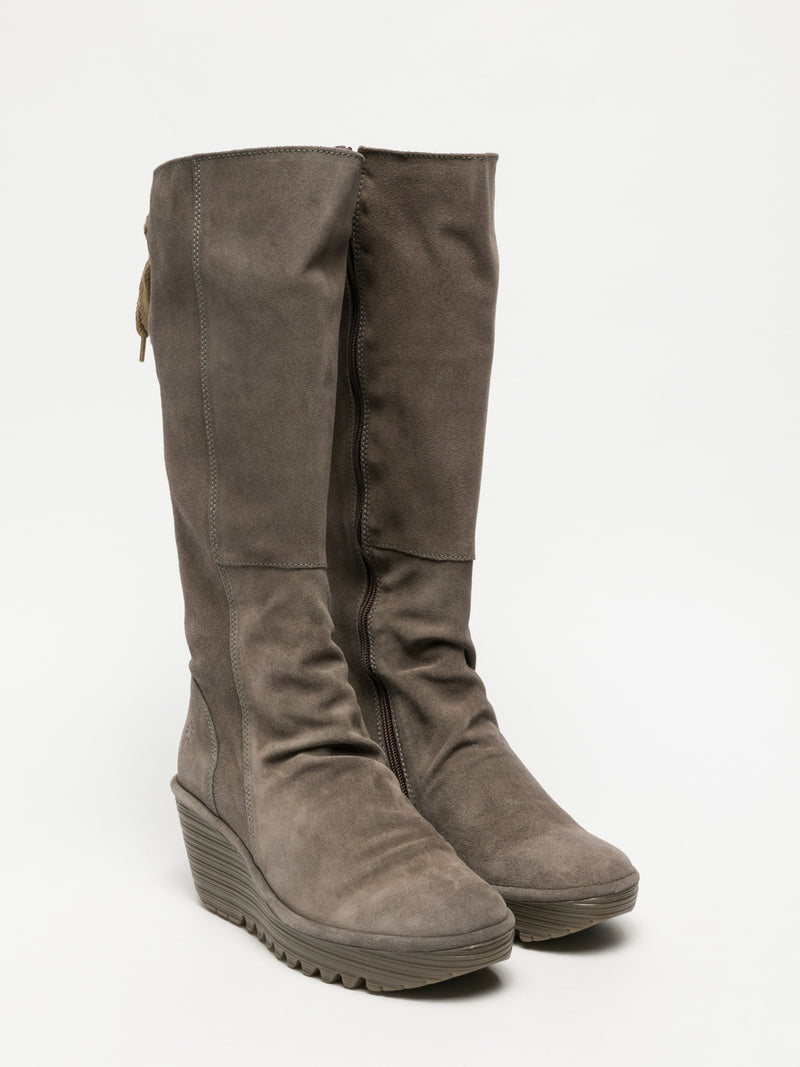 LightGray Knee-High Boots