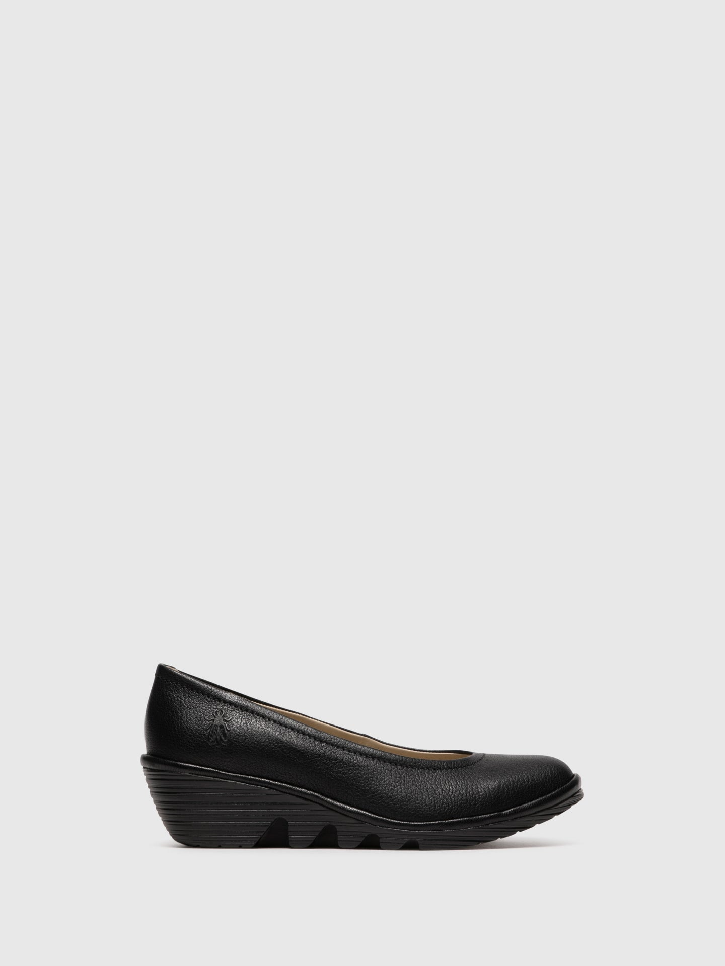 Fly London Coal Black Wedge Ballerinas