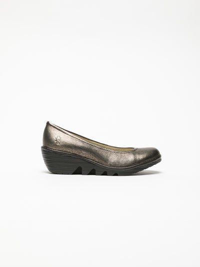 Fly London Gold Wedge Ballerinas