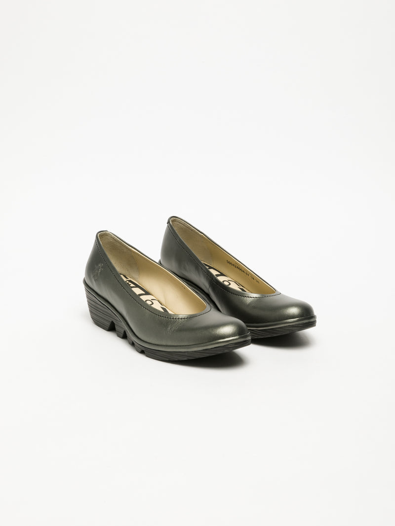 Silver Wedge Ballerinas