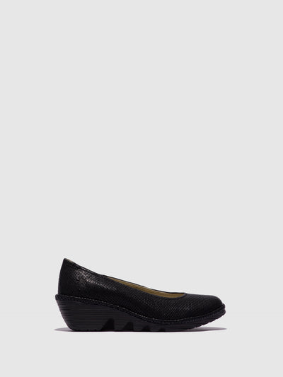 Fly London Carbon Black Wedge Ballerinas