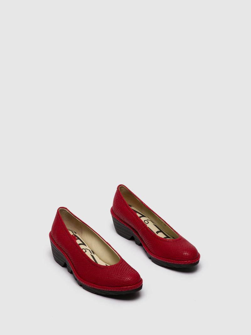 Fly London Red Wedge Ballerinas