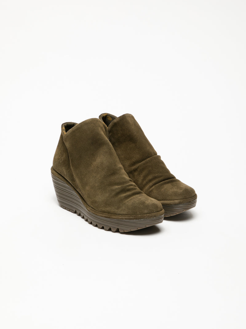 Khaki Zip Up Ankle Boots