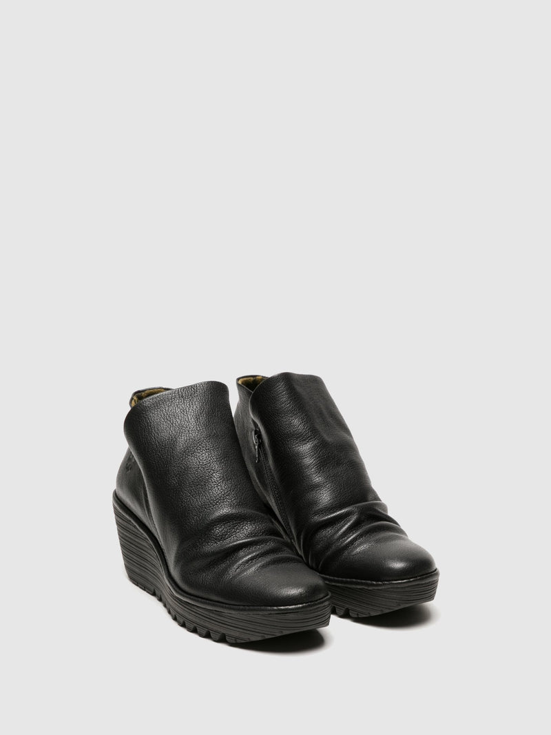 Fly London Matte Black Zip Up Ankle Boots