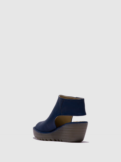 Fly London Blue Leather Ankle Strap Sandals