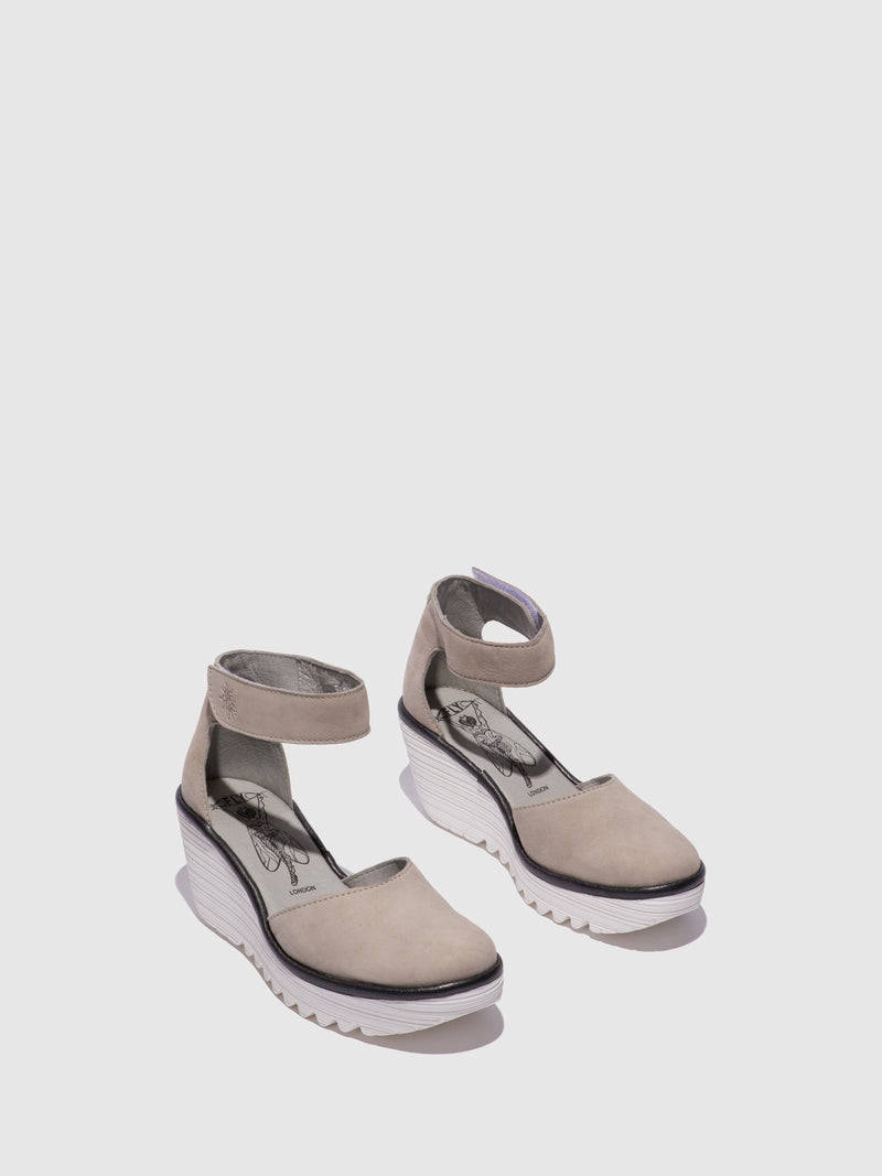 Fly London LightGray Ankle Strap Sandals