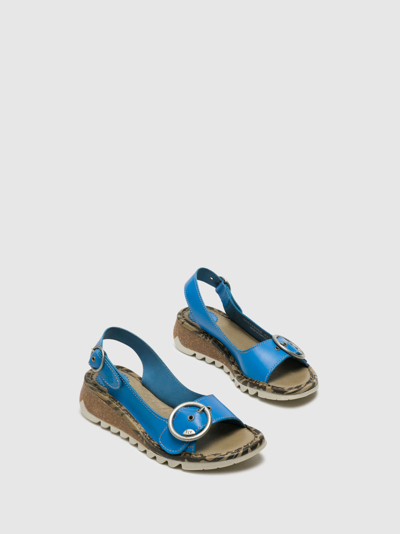 Fly London Blue Leather Buckle Sandals