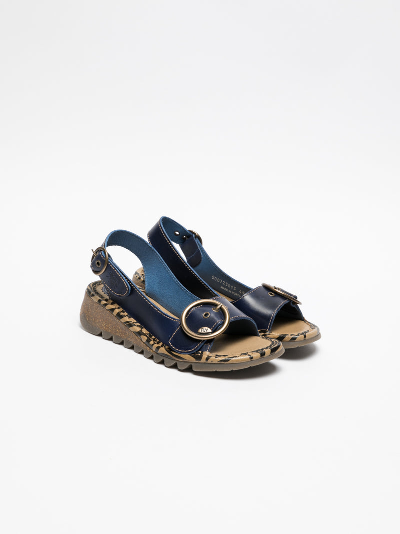 DarkBlue Buckle Sandals