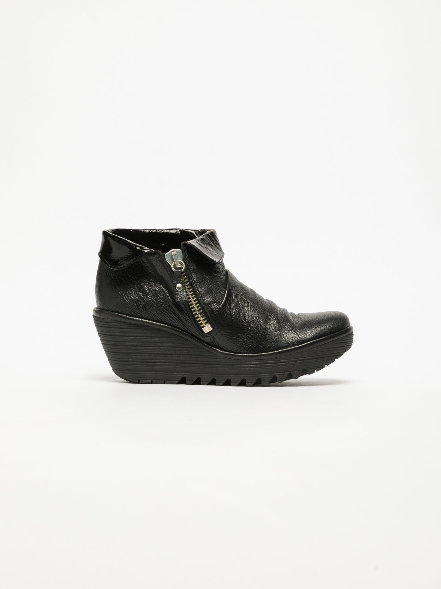 Fly London Carbon Black Zip Up Ankle Boots