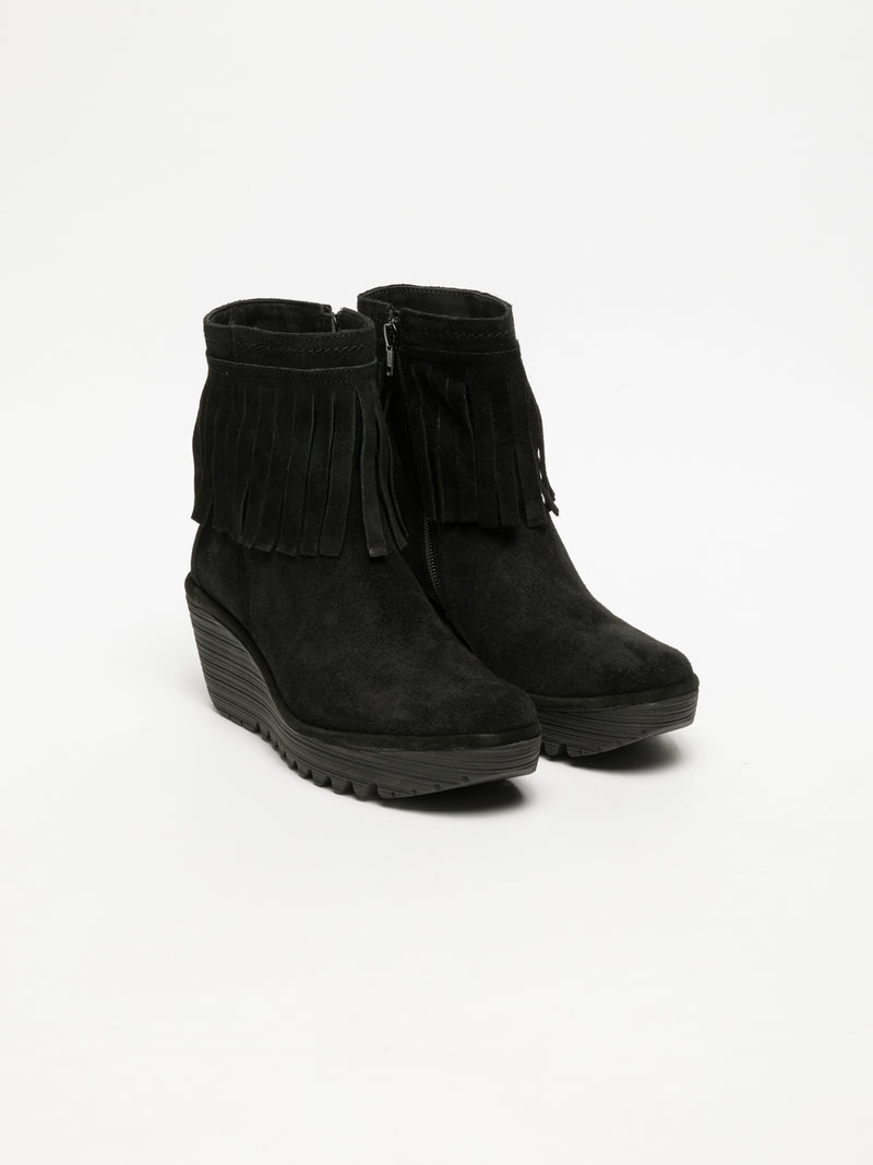 Fly London Black Fringed Ankle Boots