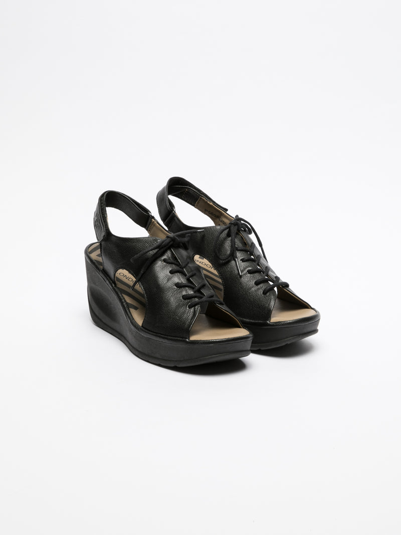 Fly London Black Lace-up Sandals