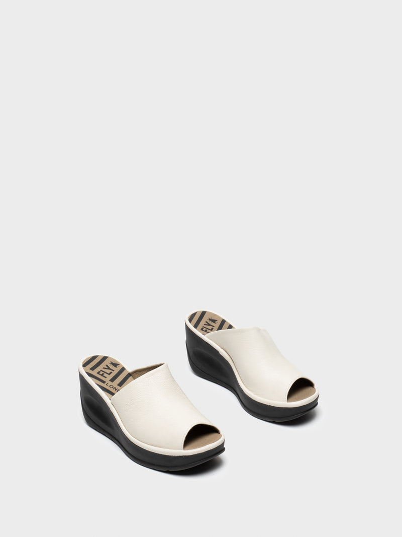 White Wedge Mules