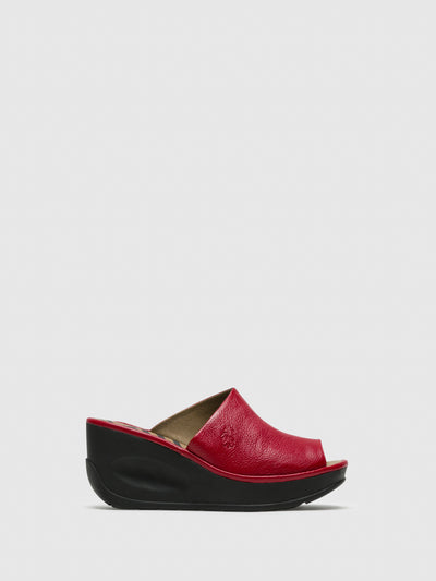 Fly London DarkRed Wedge Mules